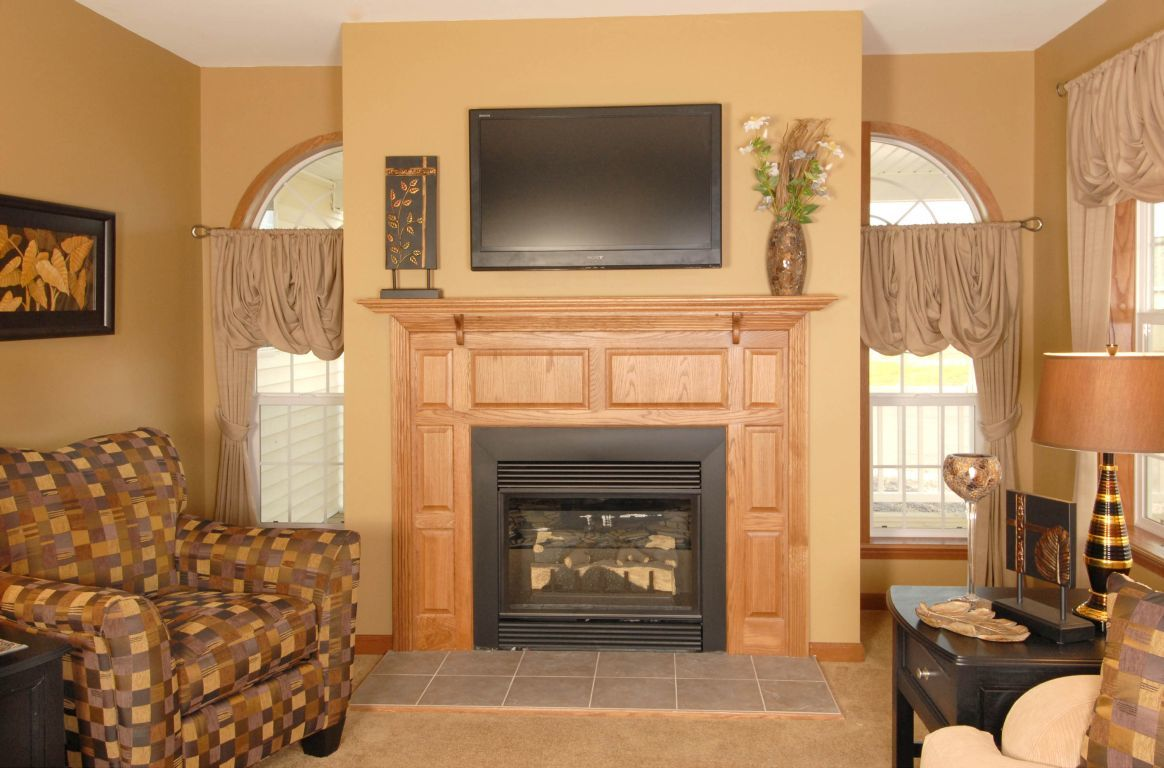 Two Quarter Round Windows at Fireplace | Modular Homes by ...