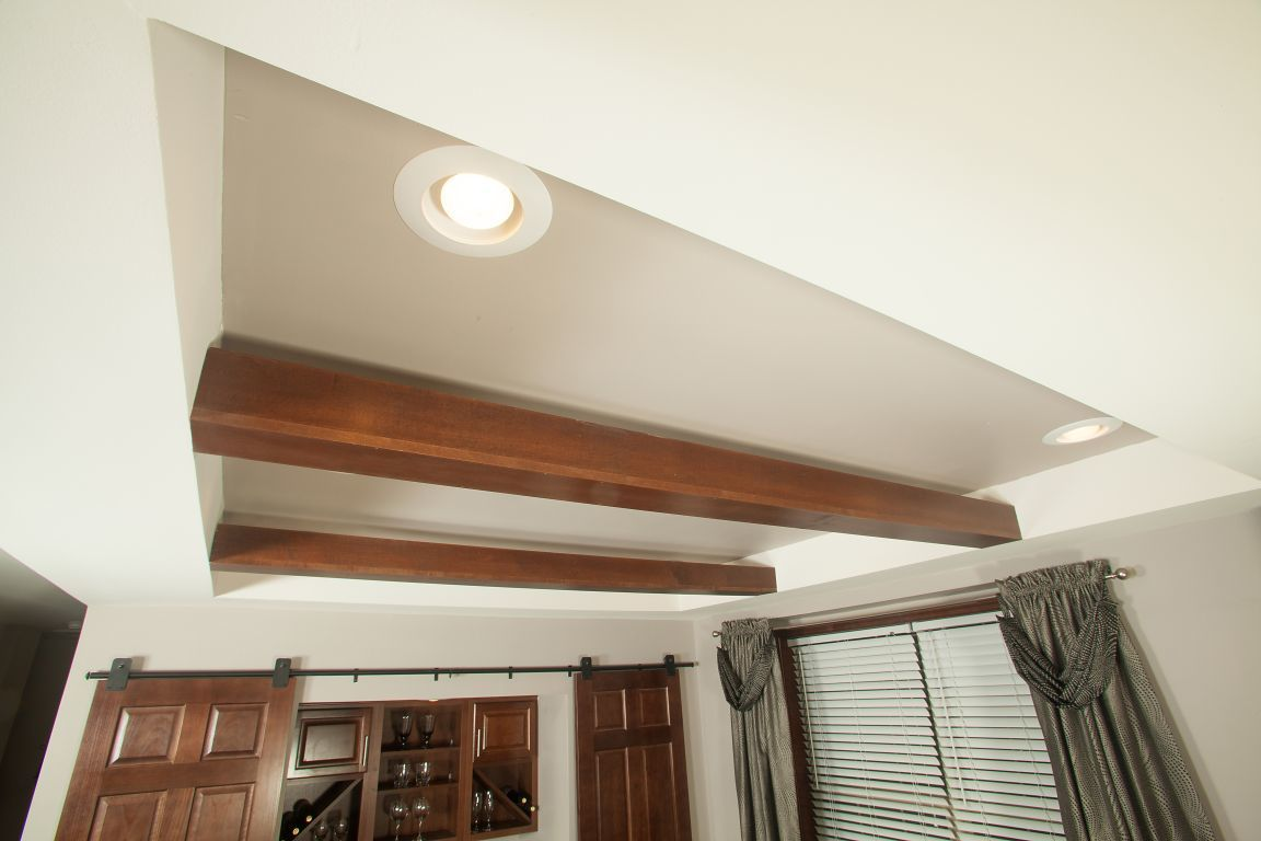 Tray Ceiling With Dropped Beams