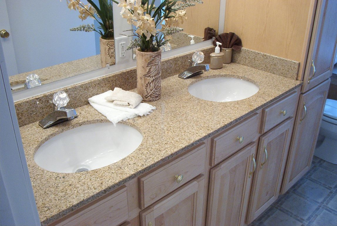Double Bowl Granite Lav With White Bowls