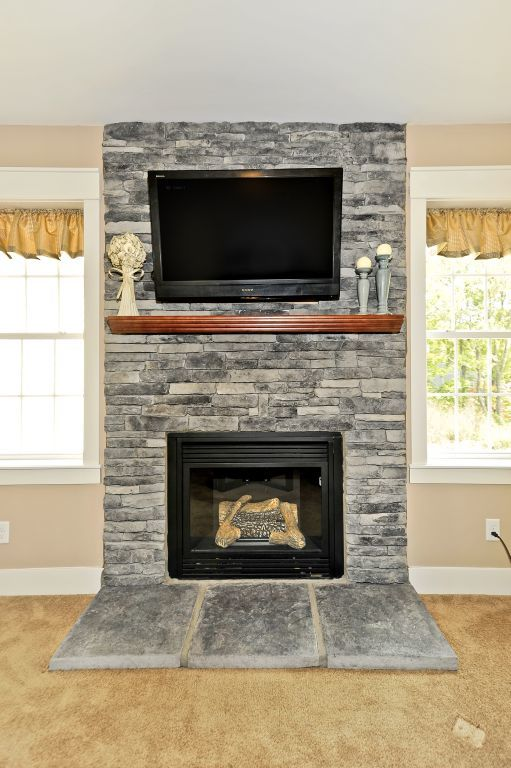 1 / 1. Hand Laid Full Greystone Fireplace ...