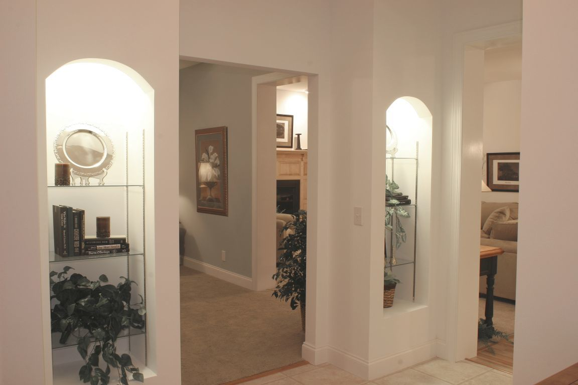 Drywall Alcoves with Glass Shelves & Recessed Can Lights | Modular ...