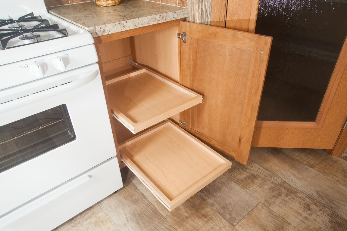Pull-Out Shelves In Base Cabinet