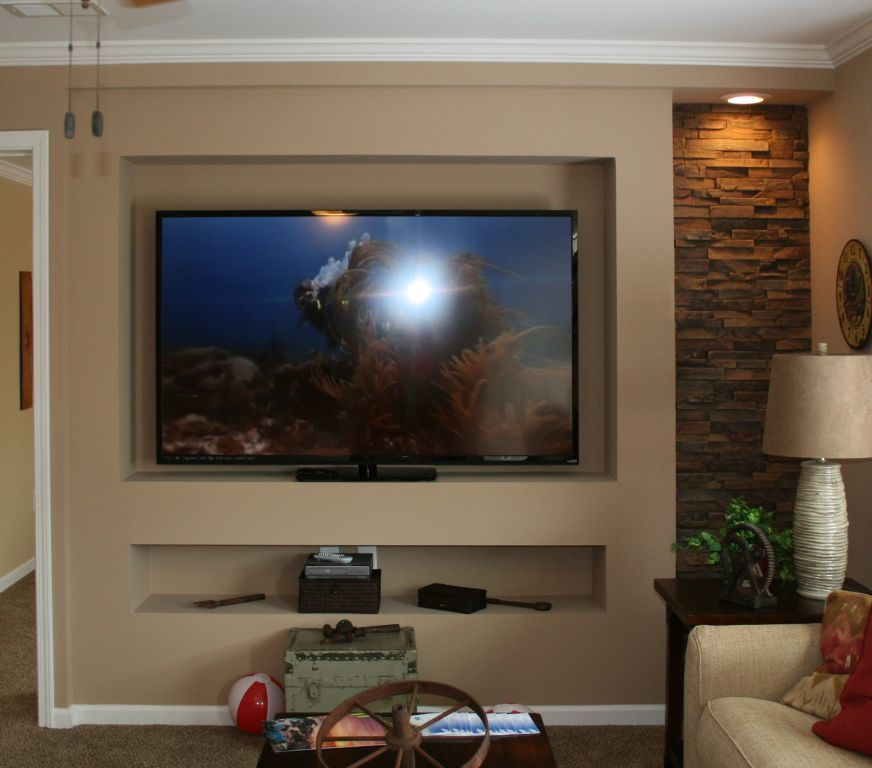 Fireplace And Tv Recessed On Accent Wall: MF-412 Recessed TV Center With Stone Accent