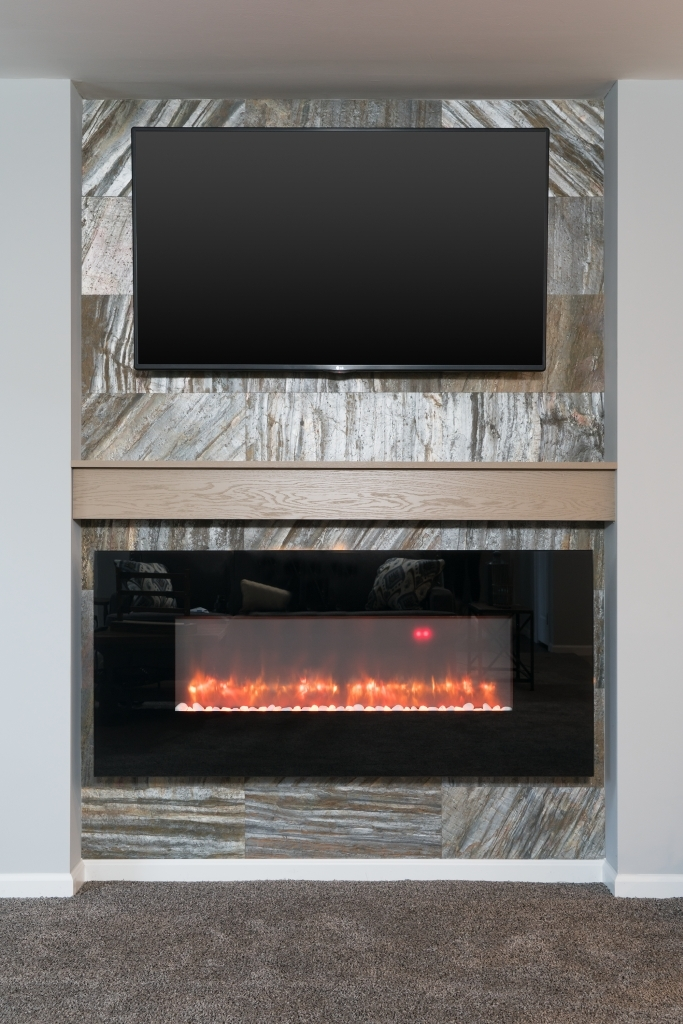 fireplace kit trim stone with led insert optional classic flame shown electric