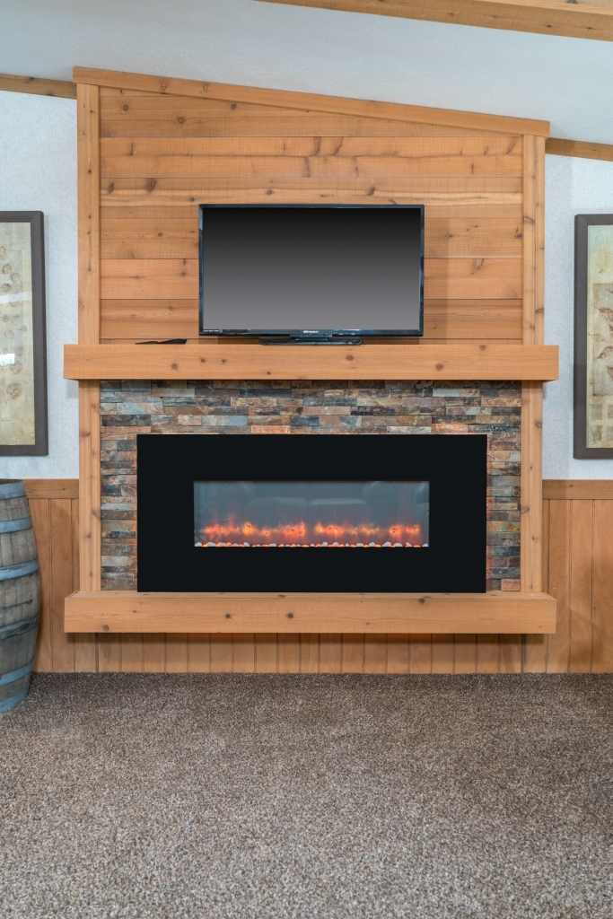 Mf 458 Led Fireplace With Stone Surround And Plank Board