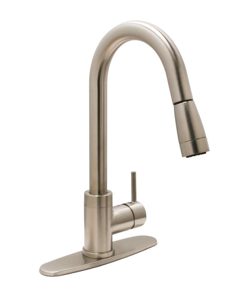 Kitchen Gooseneck Faucet With Sprayer Commodore Of Indiana
